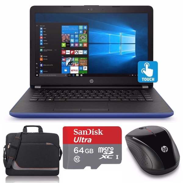 "HP 17-bs025 Core i5-7200 2TB HDD 17.3"" TouchScreen Laptop Bundle with Office 365 (Refurbished) - Blue"
