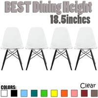 2xhome-Set of 4 Clear Modern Designer Acrylic Plastic Chair Dining Chairs Dark Black Wood Leg Base For Home Restaurant Office