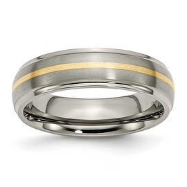 Chisel 14k Gold Inlaid Ridged Edge Brushed & Polished Titanium Ring (6.0 mm)