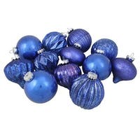 "12-Piece Blue Assorted Distressed Finish Glass Christmas Ornament Set 3.25"" (80mm)"