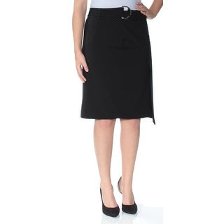 CALVIN KLEIN Womens Black Belted Knee Length Shift Wear To Work Skirt Petites Size: 6