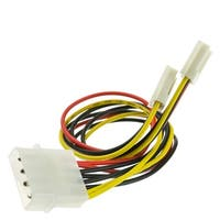 4 Pin Molex to Floppy Power Y Cable, 5.25 inch Male to Dual 3.5 inch Female, 8 inch