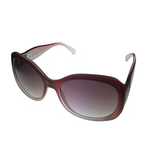 Ellen Tracy Womens Sunglass 527 2 Crystal Burgundy Fashion Square Gradient Lens - Medium