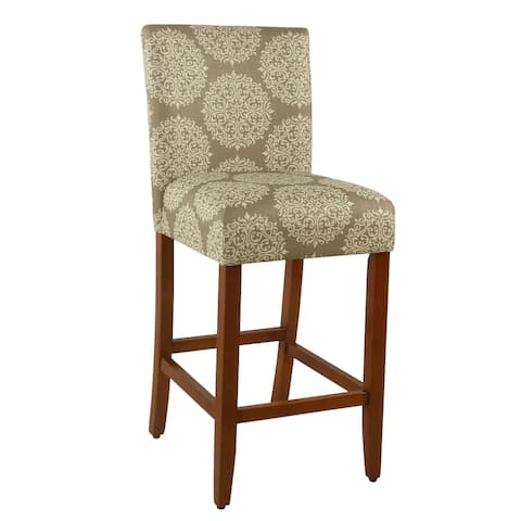 "HomePop Braeburn 29"" barstool-Taupe and Cream Medallion - 29 inches"