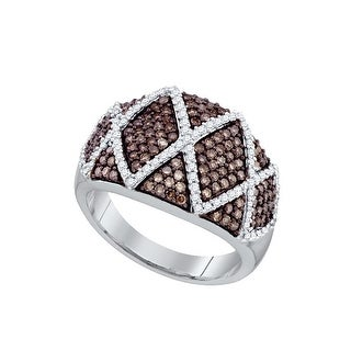 10k White Gold Womens Cognac-brown Diamond Wide Striped Cocktail Fashion Band Ring 1.00 Cttw - Brown