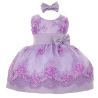 Baby Girls Lilac Floral Pattern Accent Easter Flower Girl Dress 3-24M