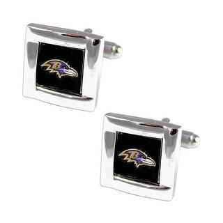 NFL Baltimore Ravens Square Cufflinks with Square Shape Logo Design Gift Box Set