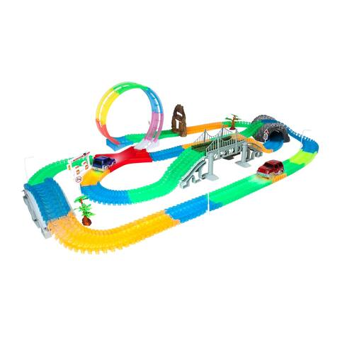 Mega Galaxy Flex-Track 425-Piece Glow in the Dark Track with 2 Electric LED Light Cars and Track Loop
