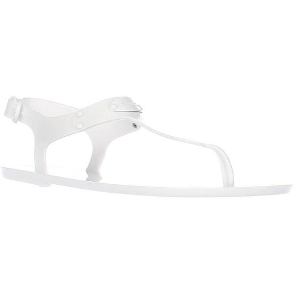 MICHAEL Michael Kors MK Plate Jelly Thong Sandals, Optic White