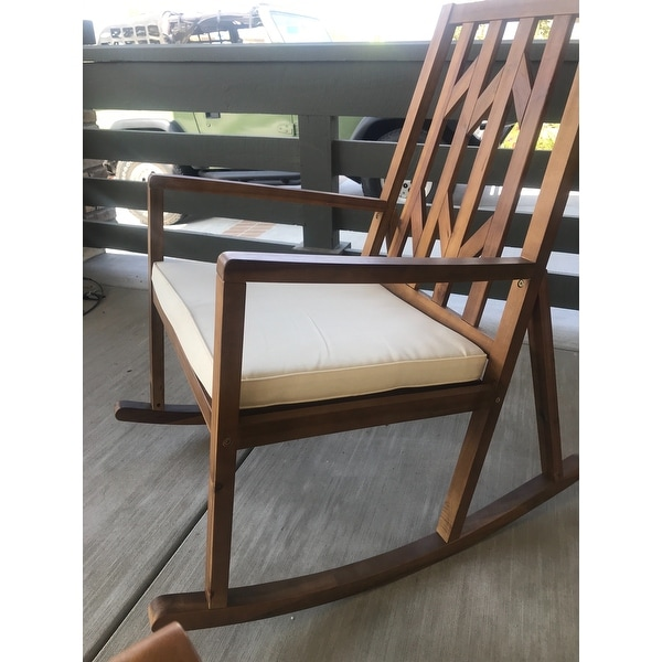 Shop Nuna Outdoor Wood Rocking Chair W/ Cushion (Set Of 2) By Christopher  Knight Home   Free Shipping Today   Overstock.com   13179195