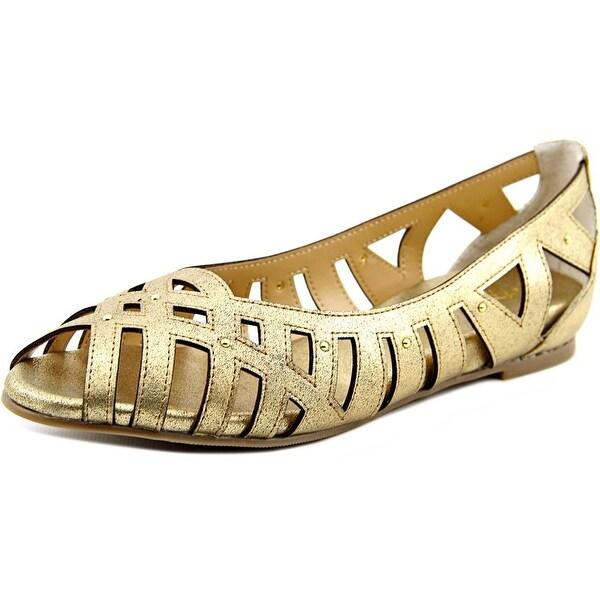 Thalia Sodi Zuly Women Peep-Toe Synthetic Gold Flats