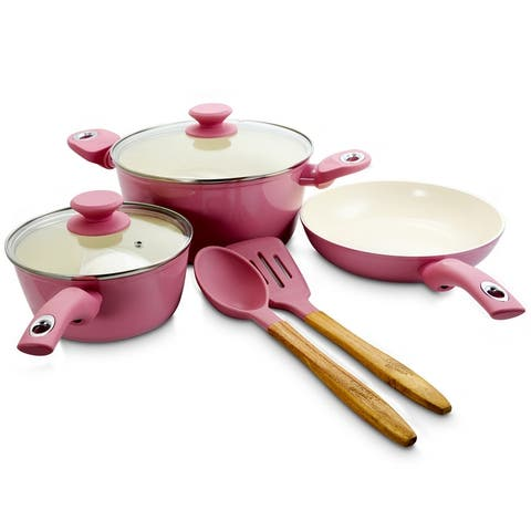 Gibson Home Plaza Cafe 7Pc Aluminum Nonstick Cookware Set in Lavender
