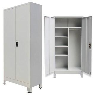 """vidaXL Locker Cabinet with 2 Doors Steel 35.4""""x15.7""""x70.9"""" Gray"""