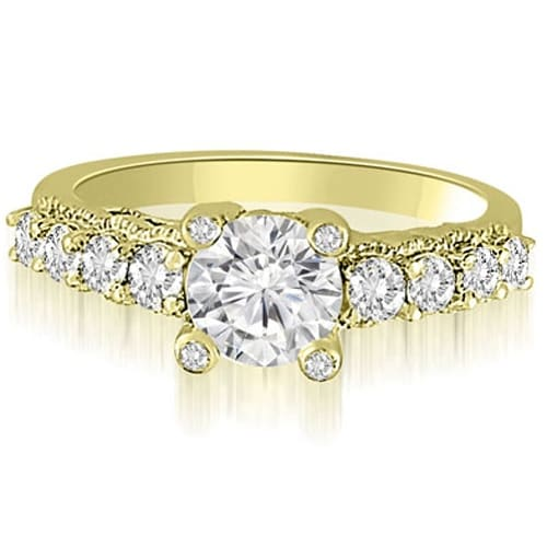 1.55 cttw. 14K Yellow Gold Antique Style Milgrain Diamond Engagement Ring