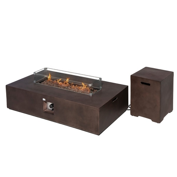 COSIEST 2-Piece Outdoor Propane Rectangle Fire Pit With Tank Table. Opens flyout.