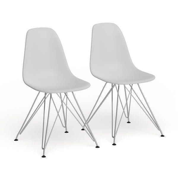 Carson Carrington Silkeborg Mid Century Modern Molded White Chair (Set of 2). Opens flyout.