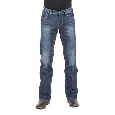 Stetson Western Jeans Mens Low Rise Bootcut Blue