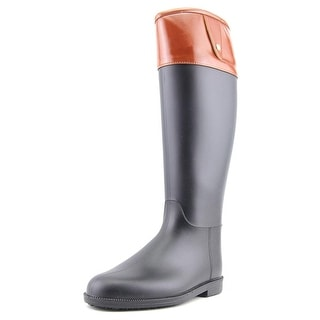 Qupid Maine 02 Women Round Toe Synthetic Black Rain Boot