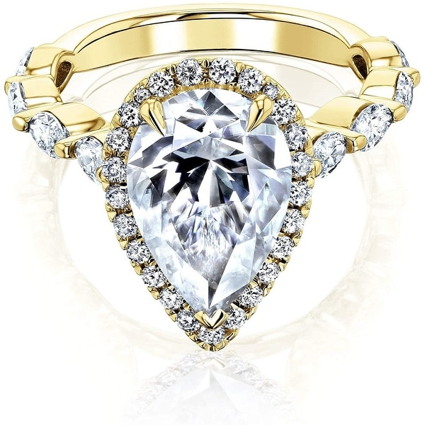 Annello by Kobelli 14K Gold The Cristina Pear Moissanite Engagement Ring (GH/VS, DEF/VS). Opens flyout.