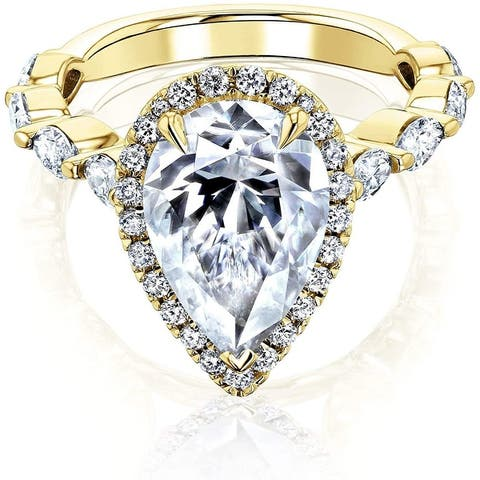 Annello by Kobelli 14K Gold The Cristina Pear Moissanite Engagement Ring (GH/VS, DEF/VS)