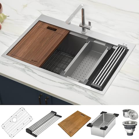 Ruvati 33 x 22 inch Workstation Ledge Drop-in Topmount Kitchen Sink 16 Gauge Stainless Steel Single Bowl - RVH8003 - 31? x 16?