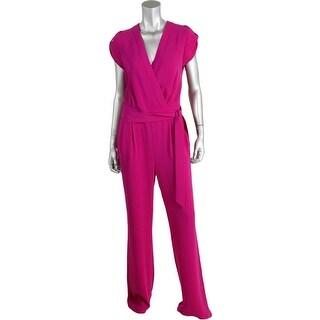Diane Von Furstenberg Womens Georgette Pleated Jumpsuit - 2