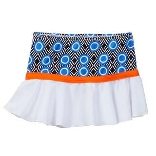 Azul Little Girls Blue Orange Circle Diamond Print Hakuna Matata Skirt
