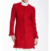 Vertigo Pomegranate Women's Small Tweed Fringe Coat