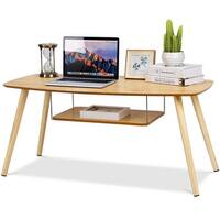 Costway Coffee Table End Side Table Solid Wooden Legs W/Storage Shelf Living Room New - N/A
