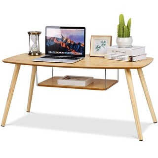 Costway Coffee Table End Side Table Solid Wooden Legs W/Storage Shelf Living Room New