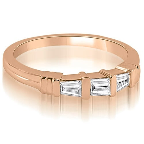 0.25 cttw. 14K Rose Gold 3-Stone Bar Set Baguette Diamond Wedding Ring. Opens flyout.
