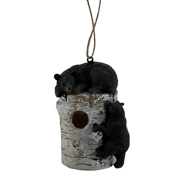 Bear Pause Sleepy Black Bears On Birch Log Birdhouse - 8.5 X 6 X 5 inches