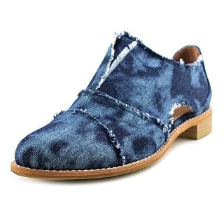 All Black Cutout Cowman Women Round Toe Canvas Blue Loafer