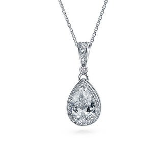 Bling Jewelry .925 Sterling Silver Pear CZ Drop Pendant Bridal Necklace 16 Inches