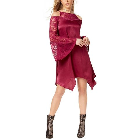 The Edit Womens Juniors Party Dress Satin Bell Sleeves