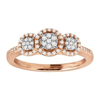 1/4 ct Diamond Round Halo Trio Ring Engagement Ring in 10K Rose Gold