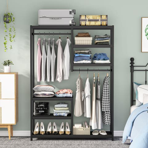 Large closet organizer Double Hanging Rod Clothes Garment Racks with Storage Shelves