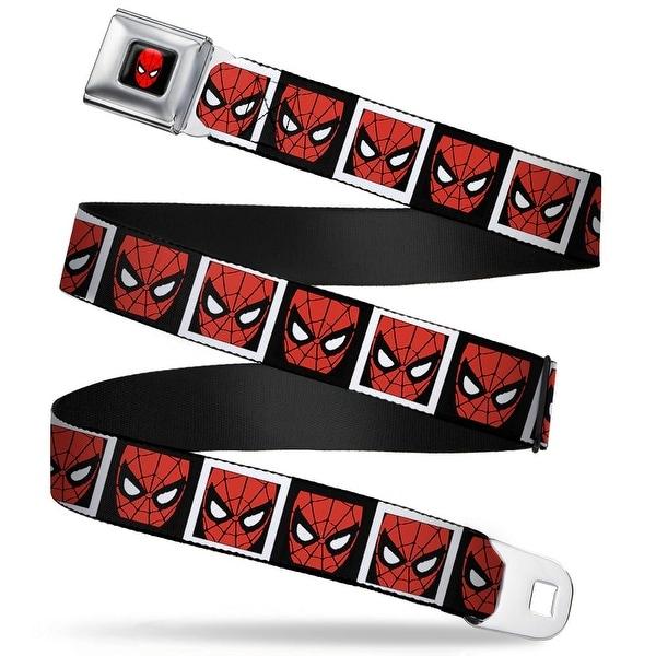 Marvel Comics Spider Man Full Color Spider Man Face Black White Blocks Seatbelt Belt