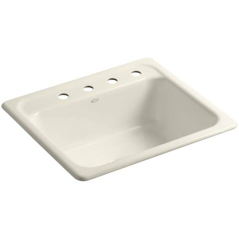 Kohler K 5964 4 Mayfield 25 Single Basin Top Mount Enameled Cast