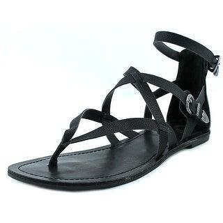G By Guess Hearn Women Open Toe Leather Black Gladiator Sandal