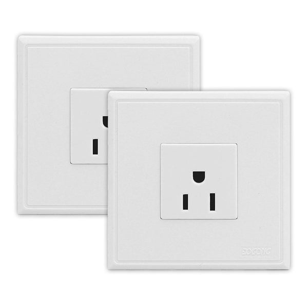 2 Pcs US Socket 10A Electric Power Wall Outlet Plate 86mmx86mm White ...