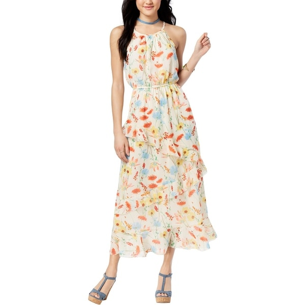 b611be62cf Shop Speechless Womens Juniors Maxi Dress Ruffled Pleated - Free ...