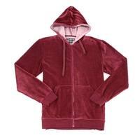 WELLINGTON Red Mens Size Medium M Full Zip Velour Hoodie Sweater