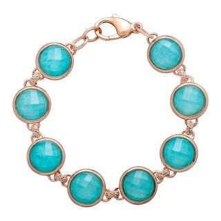 27 ct Quartz & Amazonite Bracelet in 18K Rose Gold-Plated Bronze - TEAL