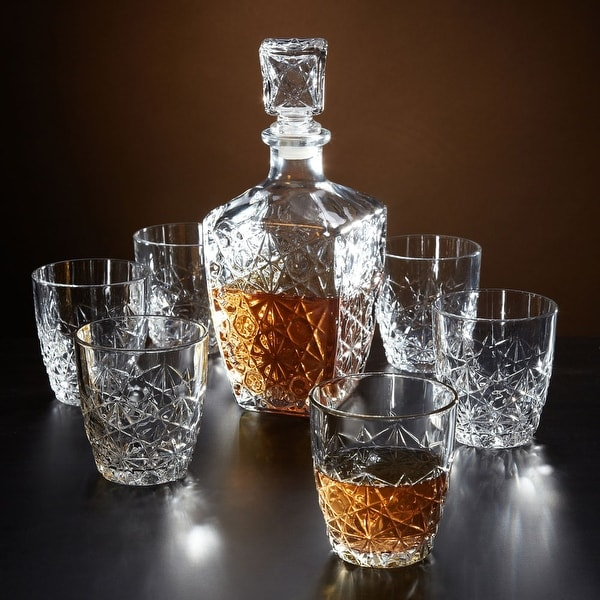 Marquise Cut Whiskey Decanter and Glasses, 7-Piece Set