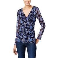 INC International Concepts Women's Floral 3/4 Sleeve Faux Wrap Top Blue Size PL
