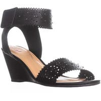 XOXO Sallie Perforated Wedge Sandals, Black
