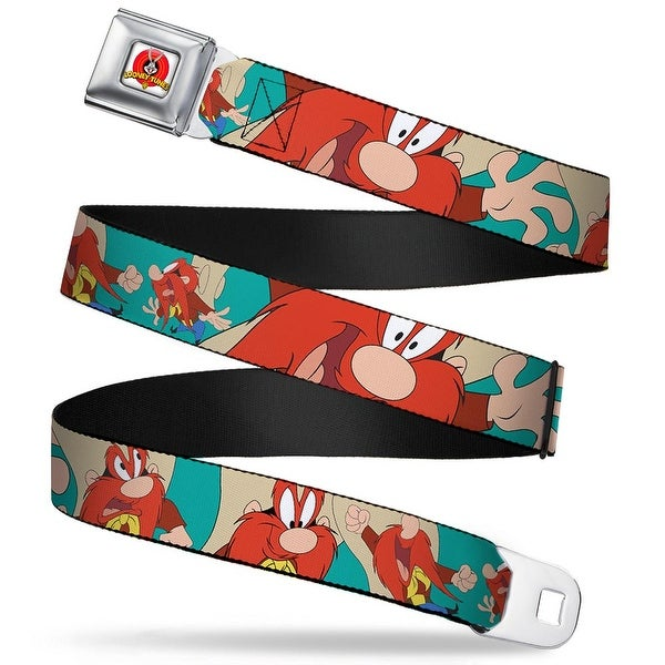 Looney Tunes Logo Full Color White Yosemite Sam Poses Turquoise Webbing Seatbelt Belt