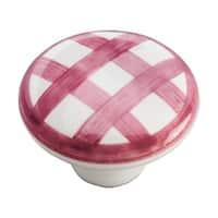"Hickory Hardware P2180 English Cozy 1-1/2"" Diameter Mushroom Cabinet Knob - red checker"