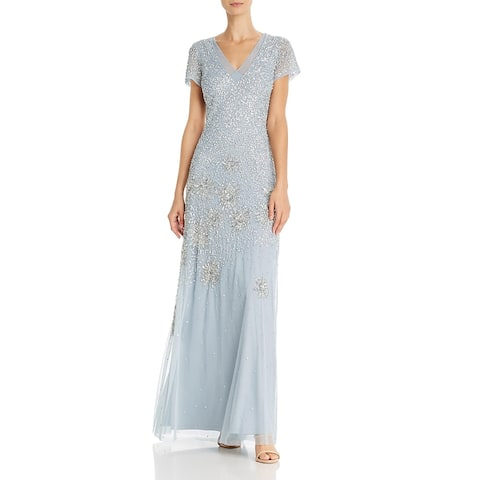 Adrianna Papell Womens Evening Dress Embellished Short Sleeves - Blue Heather